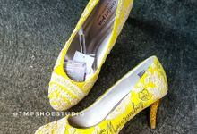 Can Can & Keno Yellow Lace Wedding by TMP Custom Shoe Studio