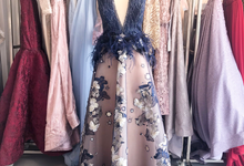 Custom Evening Gown in Navy Blue by Gianina Atelier