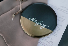 Wedding Calligraphy on Moonlight coasters by Grace and Truly Calligraphy