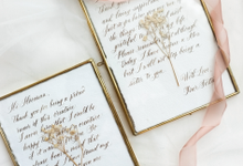 Custom bridesmaid message in brass frame by Grace and Truly Calligraphy
