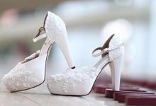 Ankle Strap Wedding Shoes by Nefrin Fadlan for brideseries wedding shoes