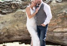Boho simple lace wedding dress & Lycra slip by Pazitive
