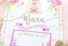 White&Pink Floral Tedak Siten Invitation for Baby Kiara by Scissor & Glue