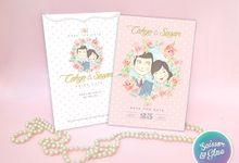 Floral watercolor in pink - Cahyo & Susan by Scissor & Glue