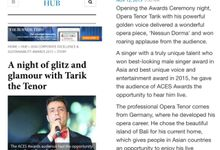 On Business Times Magazine Singapor by Tarik The Tenor ( The Luxury Entertainment )