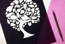 Watercolored Papercut Tree by Oats DIY