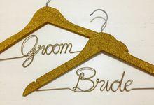 Gold Glitter Hangers by Wedding Hanger Bali