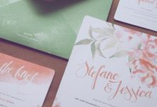 Peony Abstract Watercolor - Stefano & Jessica by Pensée invitation & stationery