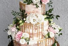 Three Tiered Rustic with Flower Combination and Gold by KAIA Cakes & Co.