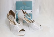 The Open Toe T Strap White Jacquard Helena by Step on Toulouse