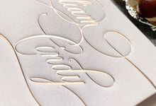 Blush Calligraphy by Trouvaille Invitation