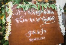 Gita Anindita & Jon Abbott Invitation Suite by Meilifluous Calligraphy & Design