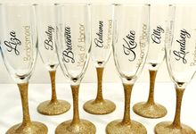 Custom Bridal Party Champagne Flutes by Lola Designs USA