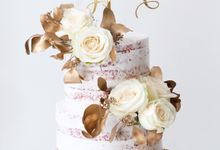 Two Tiered Red Velvet  Semi Naked Cake with White and Gold Theme by KAIA Cakes & Co.