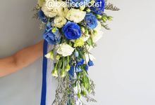 Cascading Wedding Bouquet by Belfiore Florist