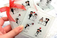 Elegant Bridestory glass coaster include clearbox by Fine Souvenir