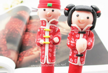 Handmade Chinese , Bride Groom Couple Clay Pen by Fine Souvenir