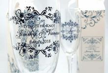 Elegant wine glass in personalised box by Fine Souvenir