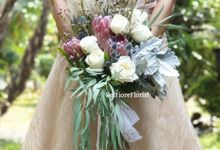 Protea Wedding Bouquet by Belfiore Florist