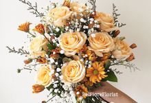 Peach Wedding Bouquet by Belfiore Florist