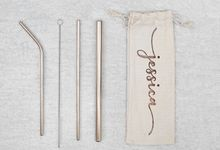 Personalized Customized Stainless Steel Straw Set by Kelsye Studio