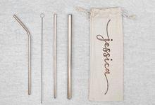 Personalized Customized Stainless Steel Straw Set by Kelsye Studio