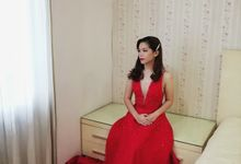 Pearl Embellished Red Gown by Agatha Cinthia