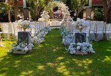 Ceremony and Dinner Garden party of Hamish & Eva Wedding by Sudamala Resorts