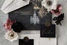 Love Sparkles Under Chandelier by Pensée invitation & stationery
