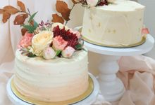 Unstacked Wedding Cake by Ame Cakery