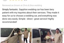 Wishing Chris & Dice a lifetime of love and happiness by sapphire wedding car