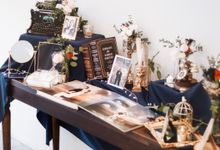 Midnight Botanical Wedding Photo Album Table by Every Sixth