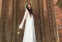 Boho lace long hooded Wedding dress topper by Pazitive