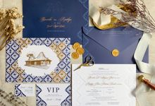 Navy Javanese Batik by Trouvaille Invitation