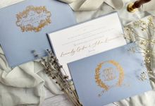 Vintage Blue by Trouvaille Invitation