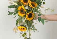 Cascading Sunflower Bridal Bouquet by Eufloria