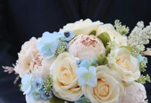 Artificial Wedding Hand bouquet - Peach Peony & Cream Rose by raia_fleurs