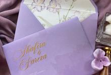 Purple wedding invitations by Invitation Papermint
