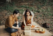 Forest Picnic Prewedding of Janissa & Kresna by fire, wood & earth