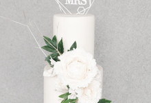 All White Two Tiered Wedding Cake by KAIA Cakes & Co.