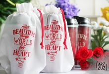 Rony & Indri Wedding Souvenir - Custom Plastic Tumbler by Artluz