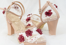 Dena wedding heels cream maroon flower by Helen Kunu by Kunu Looks