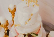 Three Tiered Marble with Gold Accent by KAIA Cakes & Co.