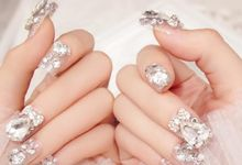 Nail art - 24 pcs kuku palsu dengan hiasan berlian imitasi yang mewah by Triwindu shop