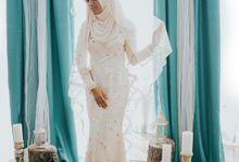 Golden Peach Dress Photoshoot  for Studio Adventure Catalogue by LAKSMI - Kebaya Muslimah & Islamic Bride