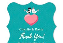 Love Birds Green Thank You Sticker by Gift Elements