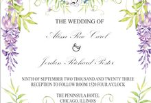 BIRD AND WISTERIA INVITATION by Ediswarah Studio