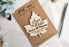 Wooden Maple Leaf Save The Date Fridge Magnet Engraved Rustic Autumn Wedding Gift invitation or Bridal Shower by Soul Crafty