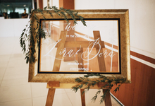 Lina and Bona Calligraphy Engagement Board Sign by Meilifluous Calligraphy & Design