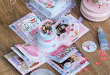 Doraemon Pink And Baby Blue Floral Theme (3layer) by Cora Craft